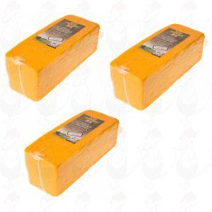 3 X Rode cheddar kaas - Mild |  Block of 2,5 kilo / 5.5 lbs