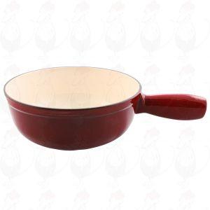 Fonduepan rood gietijzeren/geëmailleerde kaasfonduepan