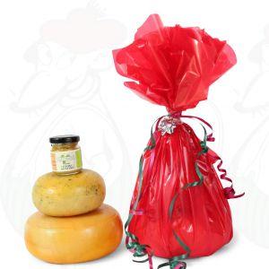 Boerenkaasjes en mosterd geschenk - rood