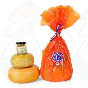 Boerenkaasjes en mosterd geschenk - oranje