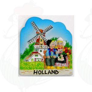 Magneet Boer en Boerinnetje - molen - kleur
