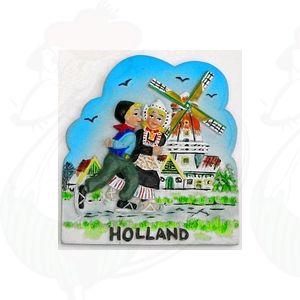 Magneet Boer en Boerinnetje - schaatsend paar - kleur