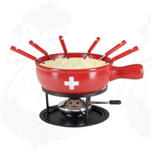 Kaasfondue set Swiss Red 9 delig